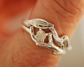 Single Leaf with Bud Branch Set  with rough diamond, alternative engagement ring, twig ring, branch ring, opal ring, engagement ring