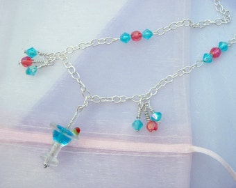 Blue Martini Glass Lampwork - Sterling Silver Necklace