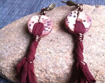 Earrings hanging ceramic and Burgundy silk fabrics