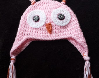 Knit baby hat, Knit Owl hat
