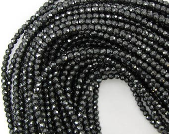"4mm faceted hematite round beads 16"" strand 12994"
