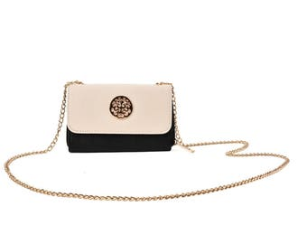 white clutch bag with chain strap