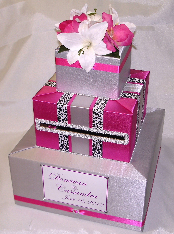 Silver and Fuchsia Elegant Custom Made Wedding Card Box-any