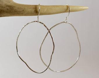Asymmetric Sterling Silver Hoop Earrings - Misshapen Hoops - Quirky Hoop Earrings - Silver Hoops - Hammered Hoop Earrings