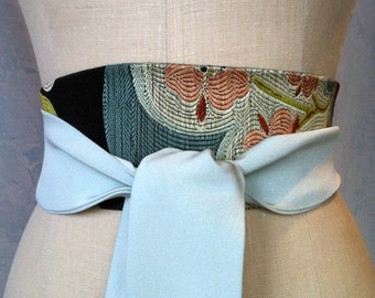 Obi belt sash silk brocade black green orange  something blue engagement waist cincher reversible