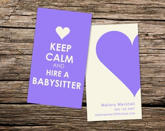 Nanny business card etsy nannybabysitting custom business card keep calm and hire a babysitter reheart Gallery