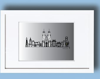 Printable Prague skyline, Prague cityscape, Prague print, Prague wall art, Minimalist art, Graphic print, skyline prints, Prague graphic,