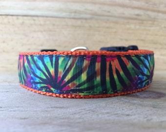 Hot Orange Tie Dye Dog Collar