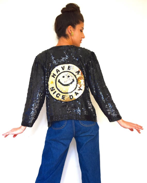 Vintage 80s 90s Have a Nice Day Black Sequined Pure Silk Cropped Jacket with Smiley Face Applique (size small, medium)