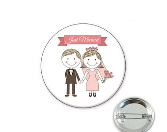 Just married - wedding o32mm pin badge