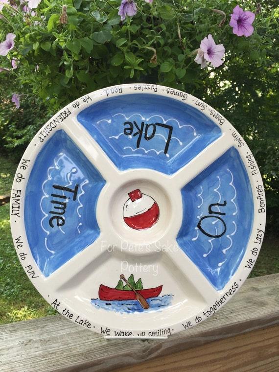 LAKE theme platter, at the lake dish, Lake chip and dip, lake gift,  lake platter, lake theme serving platter, boating platter
