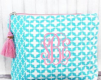 Moroccan Glam Mint Pink Cosmetic Bag, bridesmaid gift, Graduation gift
