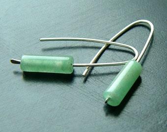 Sterling Silver Earrings, Open Hoop Green Aventurine Dangle Earring eco friendly modern minimalist jewelry, open hoop threaders