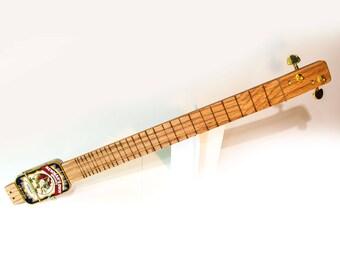 "Miniature Altoids tin 2-string guitar acoustic / electric - ""Fat Neck"""