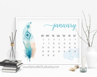 Feathers wall calendar 50% off - 2017 calendar - printable planner - printable calendar - bohemian calendar - watercolor monthly calendar