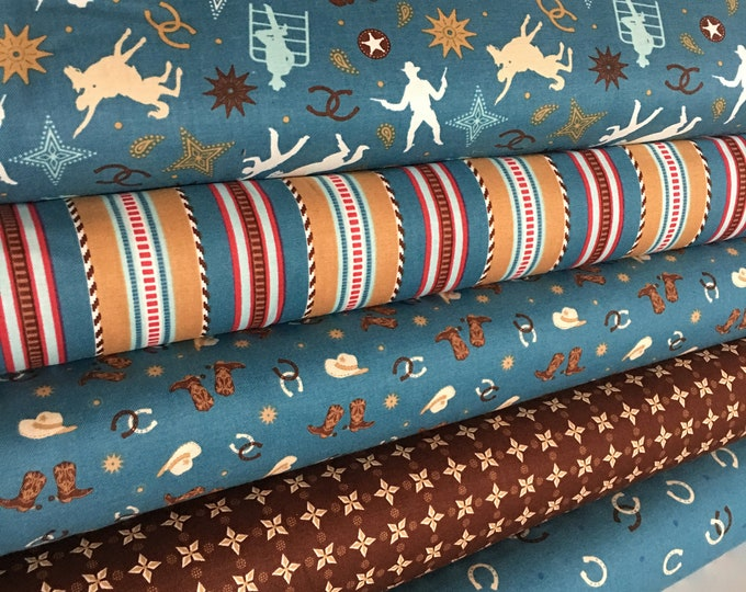 Fabric by the Yard, Cowboy Boots, Western Decor, Cowboy Baby Quilt fabric, Room Decor, Boots and Spurs Fabric bundle of 5- Choose the Cuts