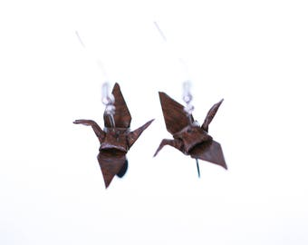 Origami cranes Brown and silver leaf earrings