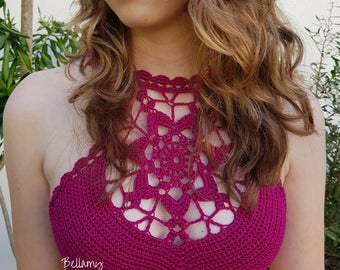 "Crochet Crop Top ""Helena""  PDF Pattern, Crochet Bikini Top, Crochet Festive Top Sizes XS - L"