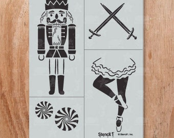 Nutcracker 4-Pack Stencil- Reusable Craft &DIY Stencils- S1_4P_28 -8.5x11- By Stencil1