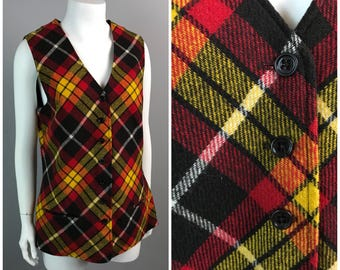 Vintage 1960s Sleeveless Red and Black Plaid Button Up Jumper Tunic Top / Women's Small  / 60s 70s Wool V Mod GoGo Vest Lined