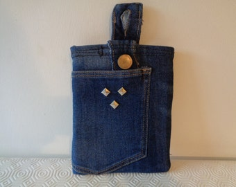 Ideal and inique gift. Blue denim Kindle e-reader sleeve IT case in reworked recycled denim. Unique gift OOAK. Keeps device secure and clean