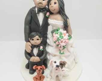 Bride and Groom  with Family Wedding Cake topper, Custom wedding cake topper, personalized cake topper, Mr and Mrs cake topper