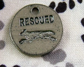 2 Silvery Rescued Charms with Greyhound Silhouette     (JWL)