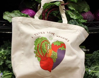 I Totes Love Veggies Fair Trade Reusable Grocery Bag
