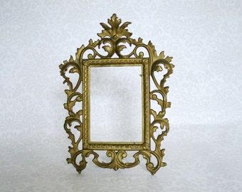 Antique Frame Cast Iron Metal, Easel Back Numbered Frame, Vintage Wedding, Vintage Bride