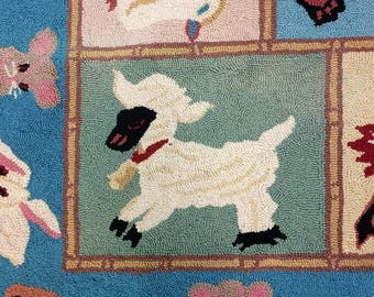 Vintage Hooked Rug With Baby Animals - Fun For a Nursery or Playroom