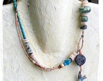 Dove Necklace, Rustic Bohemian Statement Jewelry, Artisan Jewelry, Tribal Beaded Necklace For Her, Mixed Media Statement Necklace