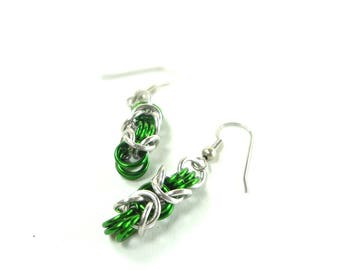 Chainmaille Earrings Byzantine or Birdcage Green And Silver Anodized Aluminum