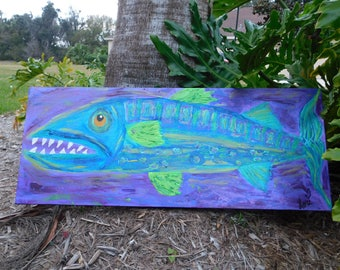 Bright, Whimsical, Barricuda, Purple, Green, Turquoise, Water, Fish,