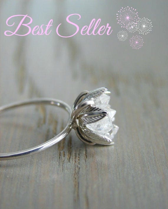 Raw Herkimer Diamond Ring Wedding Day Gift for Woman Raw