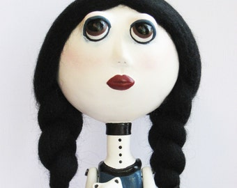 Goth Art Doll - Teddy Bear - Braided Hair - Spooky Art Doll