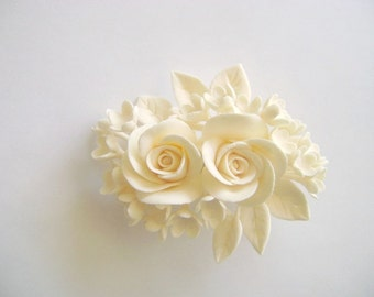 Bridal hair Flower Clay Wedding Hair Fascinator Ivory Rose Hair clip Made-to-Order