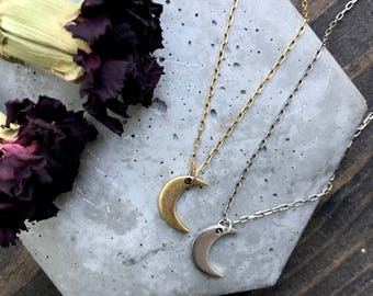 Crescent Moon - Mystic Moon Necklace - Personalized Gift - Boho - Gypsy - Gift for Her - Outer Space - Dainty - Teeny - Everyday Jewelry