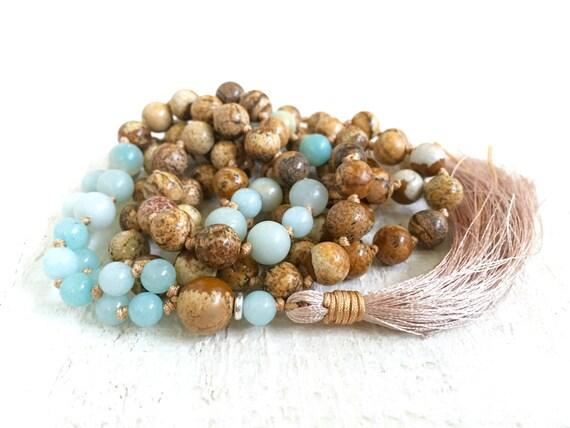 Picture Jasper Mala Beads, Amazonite Mala Necklace, Mala Beads for Stress Relief, Hand Knotted Mala With Silk Tassel, 108 Bead Gemstone Mala