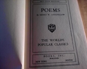 Poems by Henry Longfellow. Hard Cover Bound, A Classic!