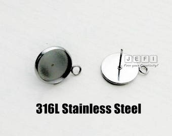 100 Earring Posts- 316L Stainless Steel 6mm/ 8mm/ 10mm/ 12mm/ 14mm/ 16mm/ 18mm/ 20mm Round Bezel Setting W/ Ring Hypo-Allergenic Ear Studs