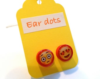 Cute Stud Earrings - Red - Wooden Earrings - Fun Emoji Studs