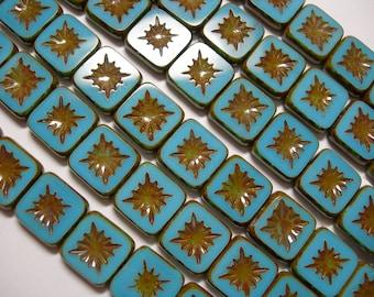 15 10mm Starburst Square Aqua Blue Picasso Czech Glass Beads