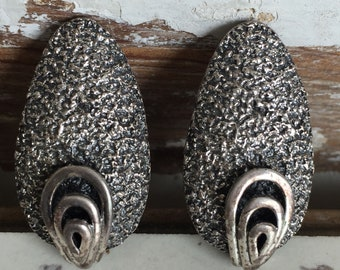 Vintage Tortolani Clip Earrings -Signed Early Pewter and Silver