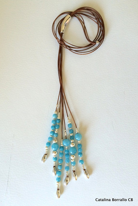 Necklace of semiprecious stones mounted in leather