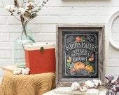 Fall Art - Farmer's Market - Fall Decor - Fall Print - Pumpkin Art - Fall Farmer's Market - Fall Print - Chalkboard Illustration - Chalk Art