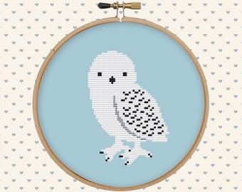 Polar owl cross stitch pattern pdf - instant download - bird cross stitch