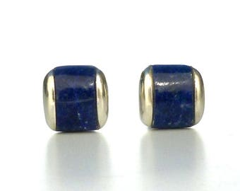 Lapis Cuff Links - Natural Blue Lapis Lazuli Inlay Silver Cufflinks in Recycled Sterling Silver - Gift for Men