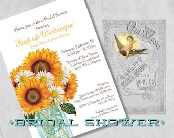 Printed Bridal Shower Invitation - Rustic Daisy and Sunflower Custom Mason Jar Bridal Shower Invites  - Wedding Shower Daisies & Sunflowers