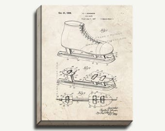 Canvas Patent Print - Ice Skate Gallery Wrapped Canvas Print