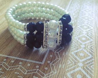 Elastic bracelet woman, black, white, silver, rhinestone, Pearl, gift, boho, Crystal, imitation Pearl, Bohemian, made with love